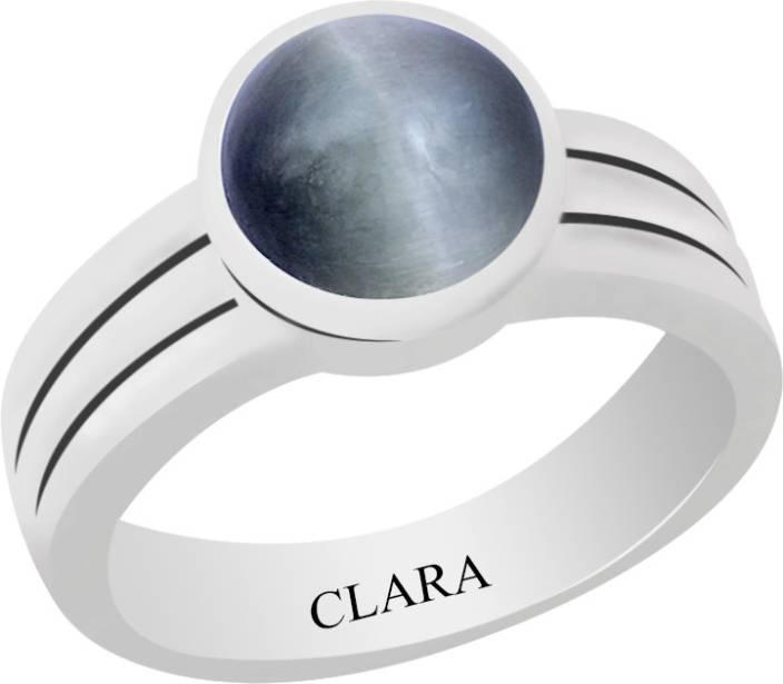 Clara Certified Lehsuniya 4.8 cts or 5.25 ratti Stunning Sterling Silver Cat's Eye Ring