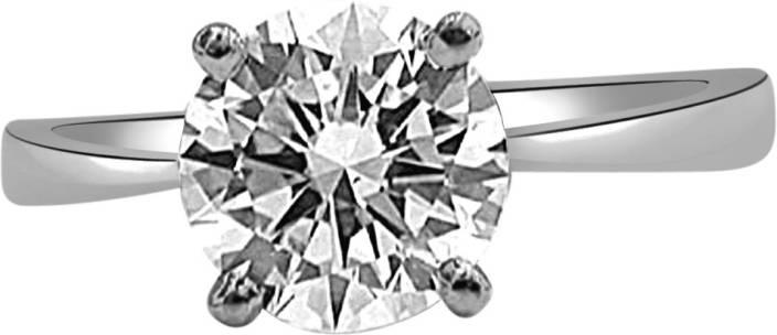 Surat Diamond Sparkling Gift Sterling Silver Diamond Rhodium Plated Ring