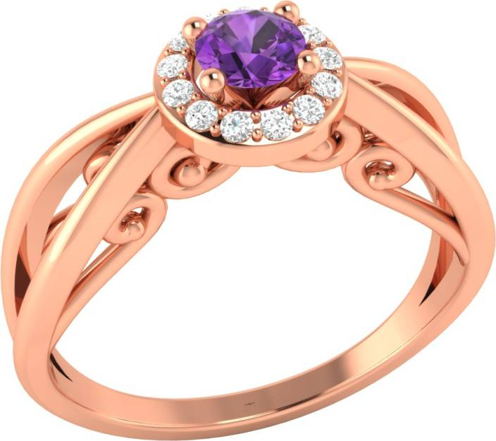 Demira Jewels Blissful Sterling Silver Amethyst, Diamond Rose Gold Plated Ring