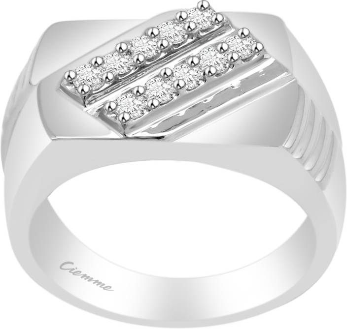 Ciemme 0.76 CT Hip Hop Style Men's Wedding Sterling Silver Cubic Zirconia Ring