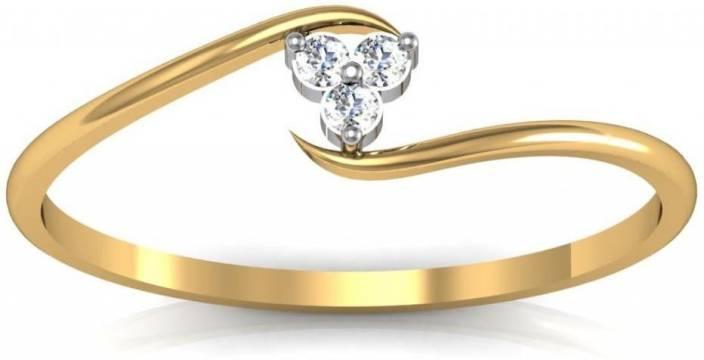 Avsar Kirti 14kt Swarovski Crystal Yellow Gold ring Price in India