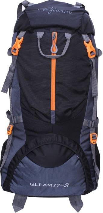 Gleam 0109 Climate Proof Mountain / Hiking / Trekking / Campaign Bag / Backpack 75 ltrs Black & Grey with Rain Cover Rucksack  - 75 L