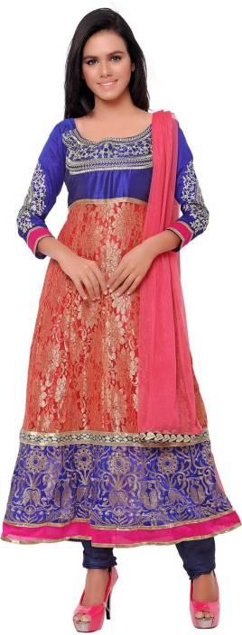 KRAZZYFORLOOK Georgette Embroidered Semi-stitched Salwar Suit Dupatta Material