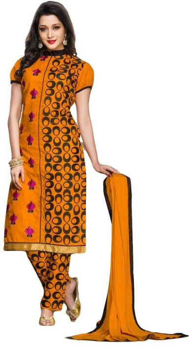 Elevate Women Cotton Embroidered Semi-stitched Salwar Suit Dupatta Material, Semi-stitched Salwar Suit Material, Salwar Suit Material, Salwar Suit Dupatta Material