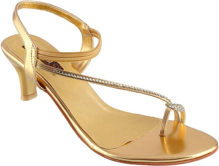 d31e35d8c1c Mochi Women 15, Gold Open Toe Kitten Heels