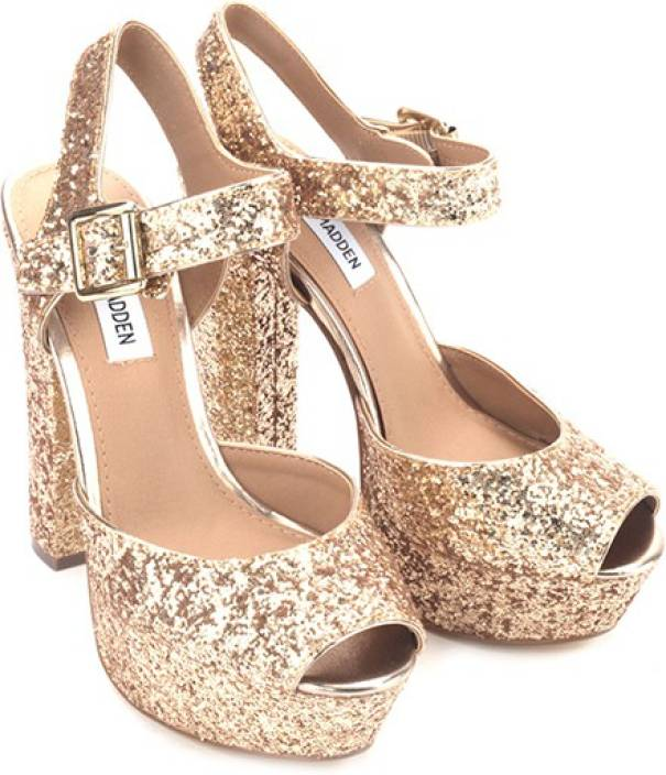 fd90cb22d Steve Madden Women Gold Glitter Heels - Buy Gold Glitter Color Steve Madden  Women Gold Glitter Heels Online at Best Price - Shop Online for Footwears  in ...
