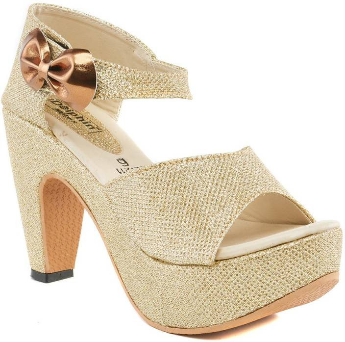 391ed86e7de725 Dolphin Miles Women Gold Heels - Buy Dolphin Miles Women Gold Heels Online  at Best Price - Shop Online for Footwears in India