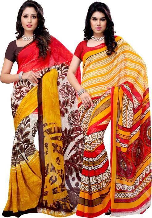 Ambaji Floral Print, Striped Daily Wear Georgette Saree