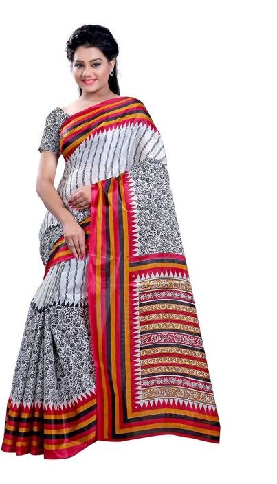 Ambaji Floral Print Daily Wear Silk Saree
