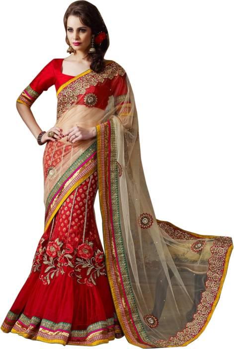 822da093de7 Buy Triveni Self Design Lehenga Saree Net Red Sarees Online   Best ...
