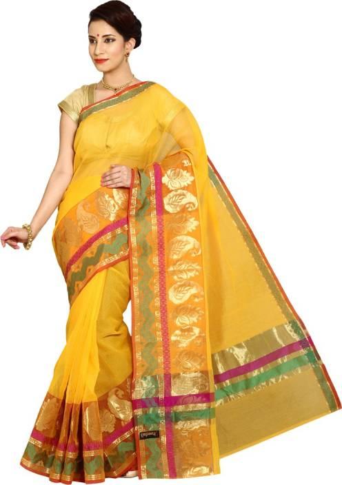 724aa4b912 Buy Pavechas Solid Banarasi Silk Cotton Blend Yellow Sarees Online ...