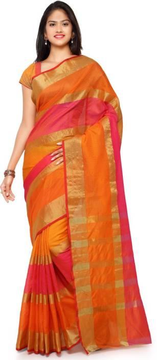 185c076ff5c6c9 Saara Striped Fashion Poly Silk Saree (Orange