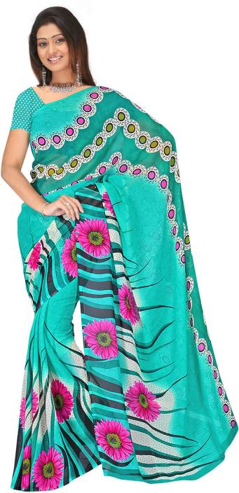 Ambaji Floral Print Fashion Georgette Saree