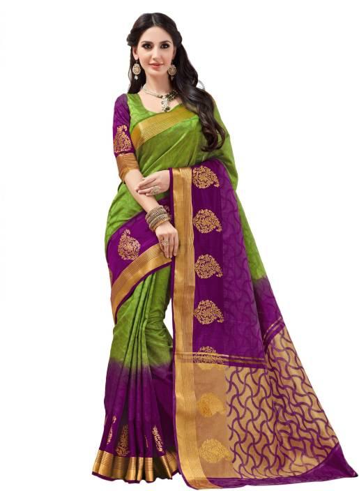 7922b97670 Taanshi Self Design, Printed Kanjivaram Tussar Silk Saree (Green, Purple,  Gold)