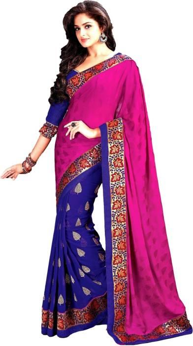 Roop Kashish Solid Fashion Chiffon Saree