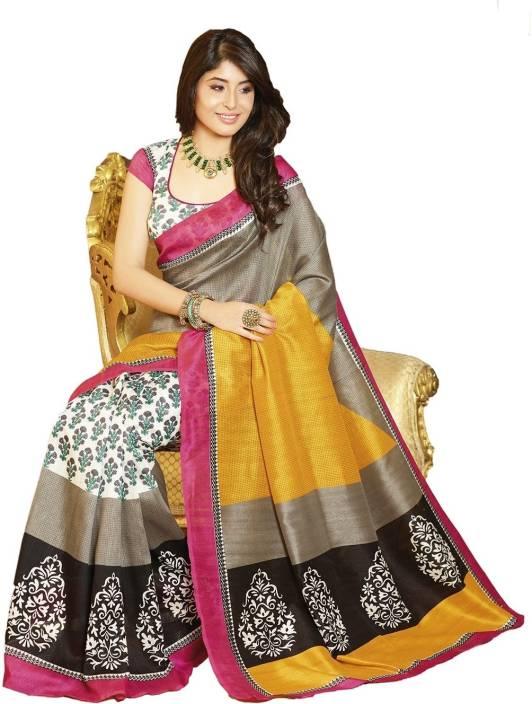 Click Sarees Printed Mysore Art Silk Saree