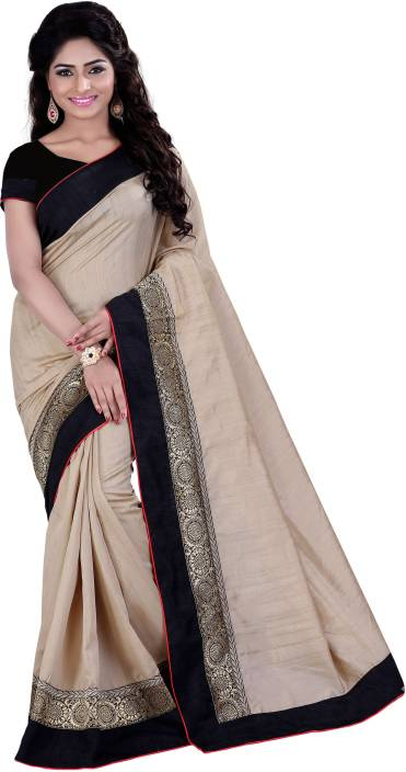 Buy Sarvagny Clothing Self Design Fashion Banarasi Silk Beige Sarees Online Best Price In