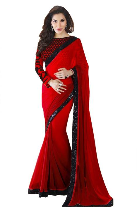 d7c6a7ae4d2f8 Buy Glory Sarees Solid Bollywood Georgette Red Sarees Online   Best ...