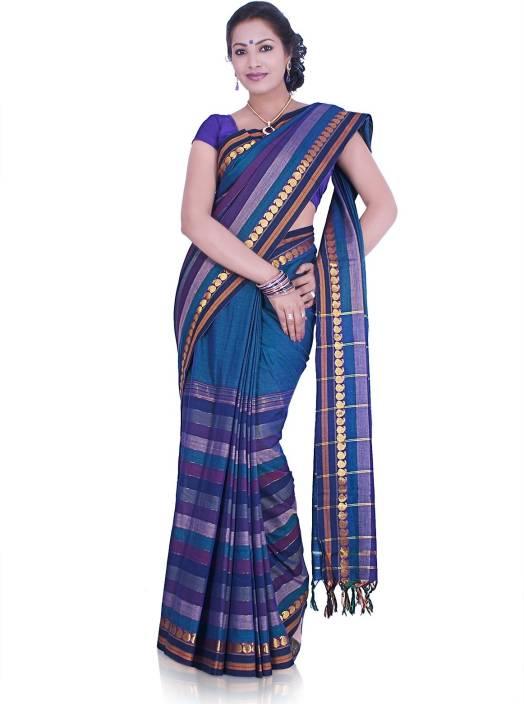 11302b0dcbf63c Buy IndusDiva Solid, Striped Ilkal Cotton Blue Sarees Online @ Best ...