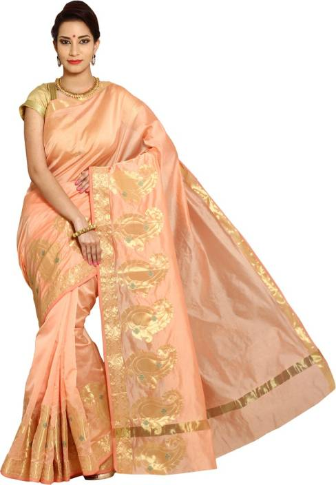 Pavechas Solid Banarasi Silk Cotton Blend Saree