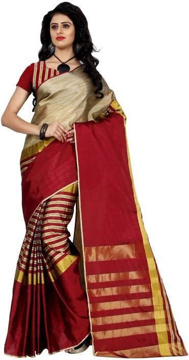 Trendz Style Printed, Striped Fashion Tussar Silk, Cotton Linen Blend Saree