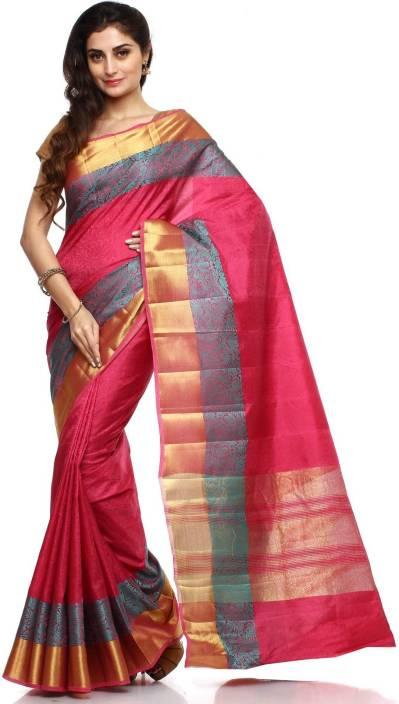 7121beeaee Sudarshan Silks Self Design Dharmavaram Handloom Raw Silk Saree (Pink)
