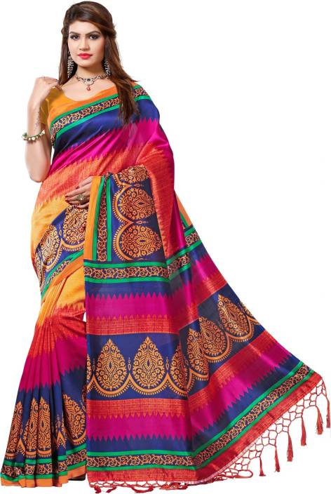 E-Vastram Printed Bollywood Silk Saree  (Multicolor)