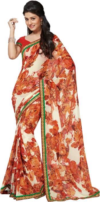 Roop Kashish Floral Print Fashion Georgette Saree