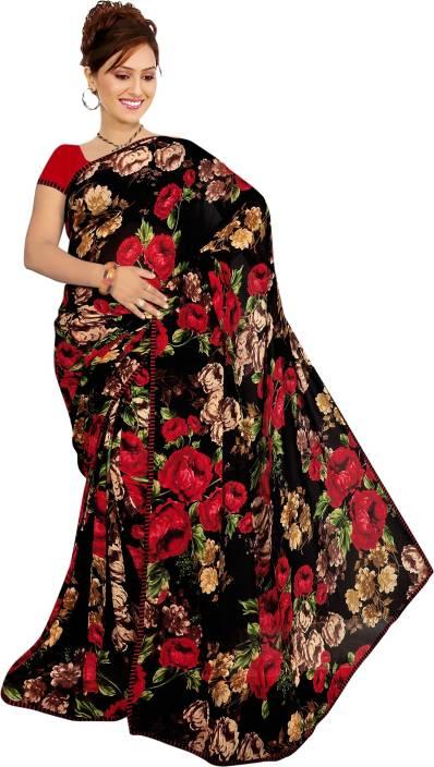 Kalaa Varsha Floral Print Daily Wear Synthetic Georgette Sari
