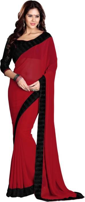 ef0e58471e Buy Sourbh Sarees Plain Fashion Georgette Red Sarees Online @ Best ...