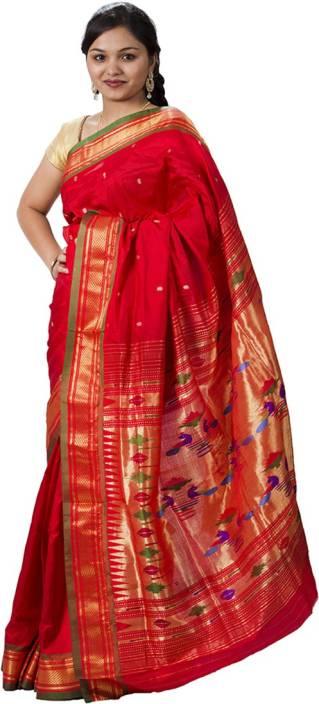 488bca3c74 Buy Sanskrutisilk Woven Paithani Pure Silk Red Sarees Online @ Best ...