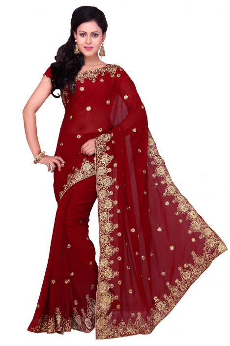 Ayushi Apparel's Embroidered Bollywood Georgette Saree