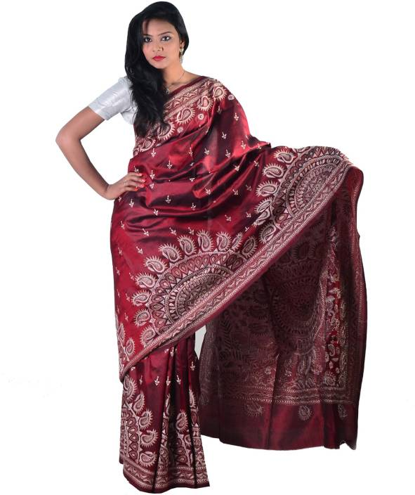 6b04df2e0fe Buy Kantha Store Embroidered Kantha Silk Maroon Sarees Online   Best ...