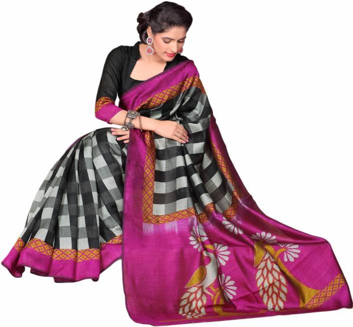 Buy Sunaina Checkered Mysore Cotton Multicolor Sarees