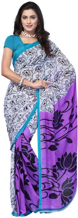 Ambaji Floral Print Fashion Georgette Saree