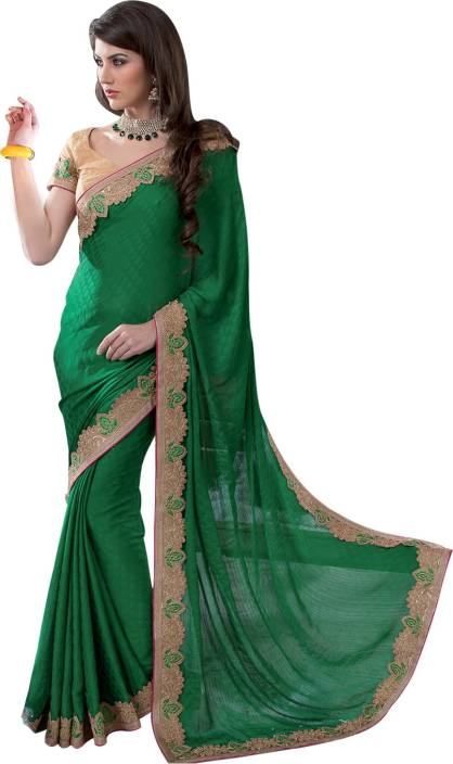 1ad35b179b Buy Neerus Embroidered Fashion Jacquard Green Sarees Online @ Best ...