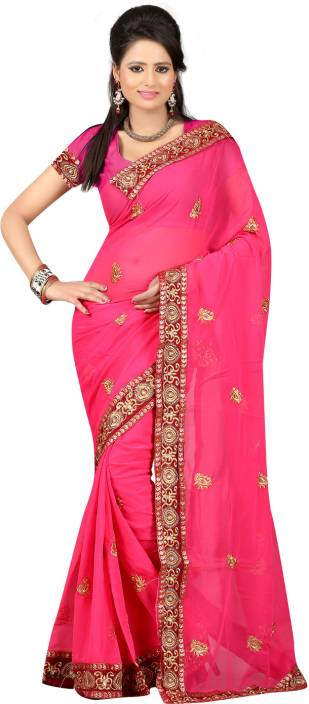 Ansu Fashion Solid Fashion Georgette Saree
