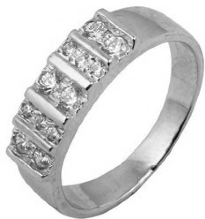 Emaira Sterling Silver Swarovski Crystal Platinum Plated Ring