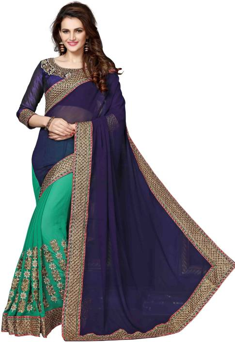 onlinefayda Embroidered Bollywood Georgette Saree