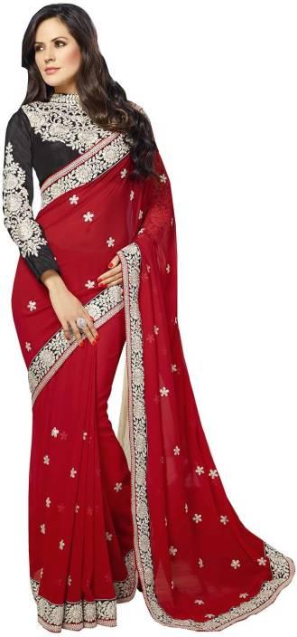 Ishin Solid Fashion Chiffon Saree