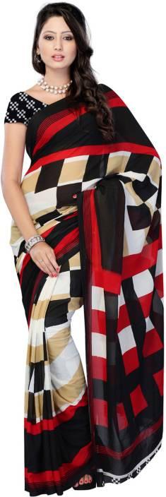 Ambaji Checkered Daily Wear Georgette Saree