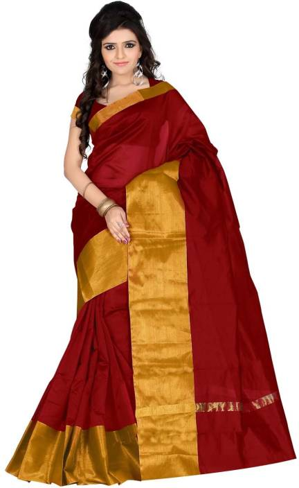Roopkala Silks Solid Chanderi Polycotton Saree