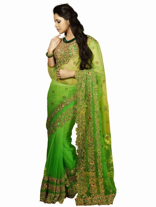 Buy Thanvi Fashion Embroidered Bollywood Net Green Sarees
