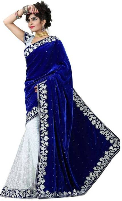 7aab3a58ac Kaladin Self Design Bollywood Velvet Saree (Blue). Price: Not Available
