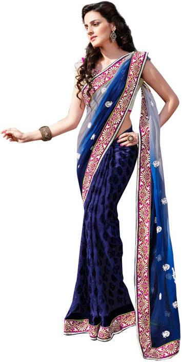Ambaji Geometric Print Fashion Chiffon, Georgette Saree