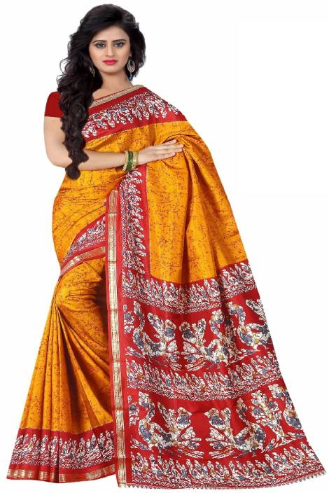 7184331c22bcf0 Buy Lady Sringar Printed Fashion Art Silk Yellow Sarees Online ...