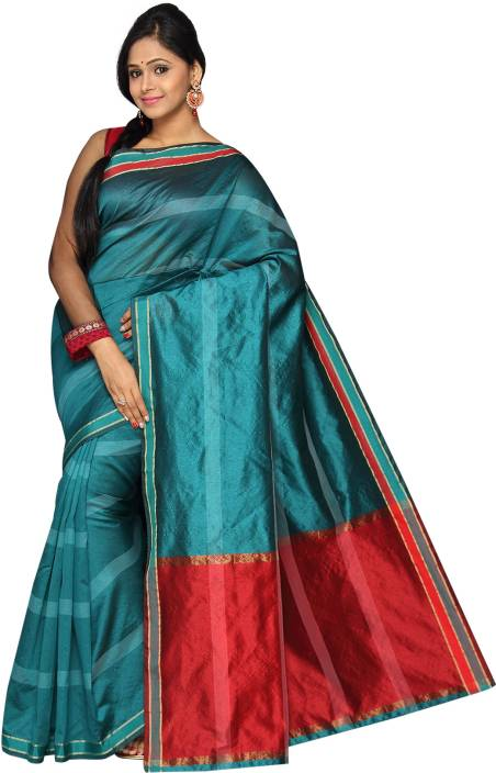 Pavechas Striped Banarasi Polyester, Cotton Saree