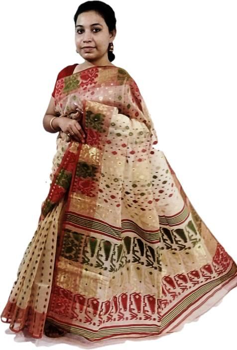 6a0c72188b Paromita Handloom Self Design Jamdani Silk Cotton Blend Saree (Red)