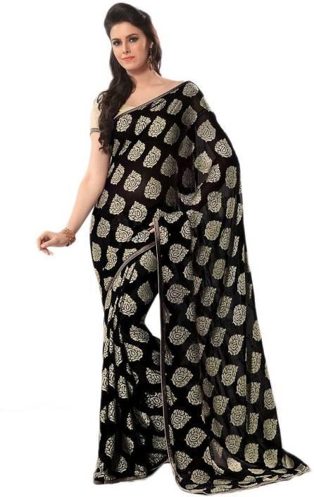 580cc50f0d010f Buy Nilesh Fab Printed Bollywood Pure Chiffon Black, Gold Sarees ...