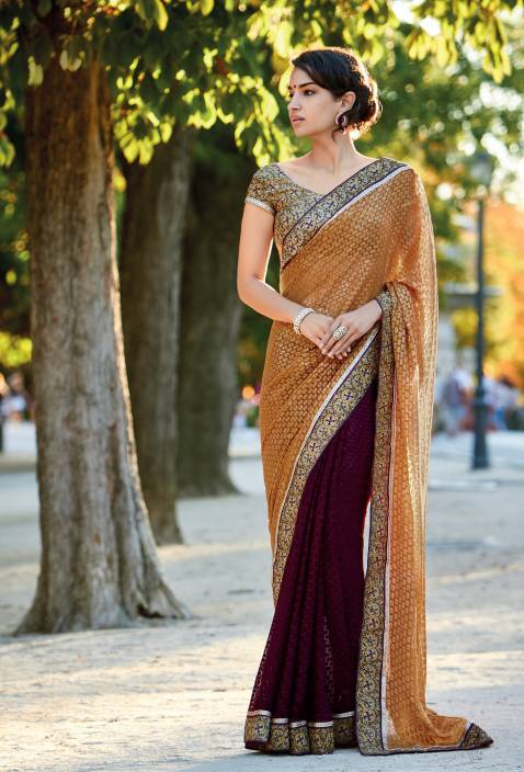 49815b85ce Buy Laxmipati Sarees Solid Fashion Georgette Brown, Purple Sarees ...